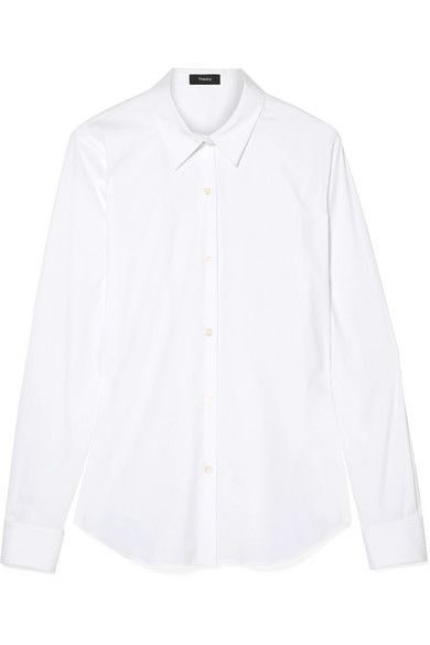 1d539fc1ea1 Theory - Tenia Stretch Cotton-blend Poplin Shirt - White in 2019 | Products  | Pinterest | Shirts, Mens tops and Poplin