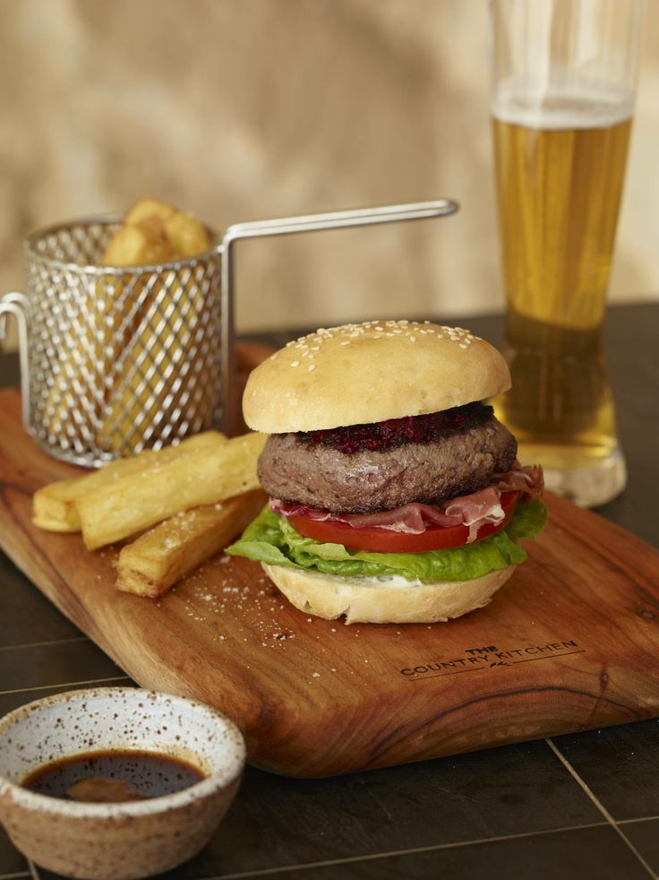 Valley Burger: Shogun Wagyu patty, truss tomato, beetroot and walnut relish, truffle