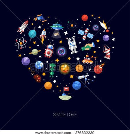 Heart vector flat design composition of space icons and infographics elements