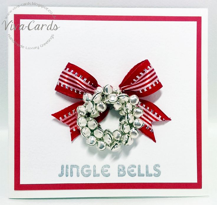 Handmade Card - Christmas Jingle Bells  #Jingle, #Bells, #Silver, #Red