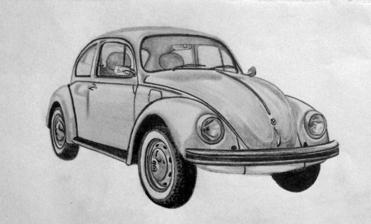 The Classic VW Beetle drawn with Graphite pencil 3B, 5B.