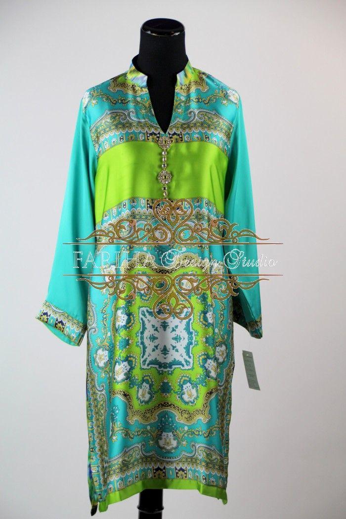BEAUTIFUL GREEN AND BLUE PRINTED SILK KURTA