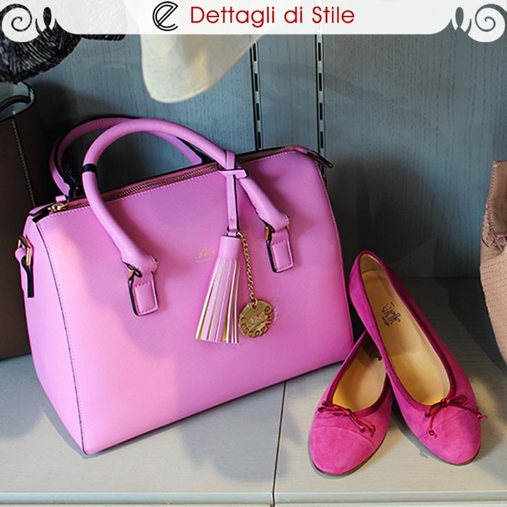 #Bauletto ecopelle rosa shocking #LesCopains - #Paperine fucsia in camoscio #Gielle  #moda #accessori #style #fashion #eldaelegance #eldastyle