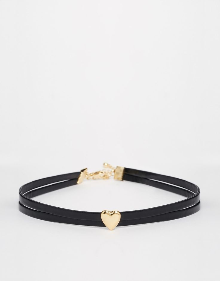 ASOS Leather Look Heart Choker Necklace