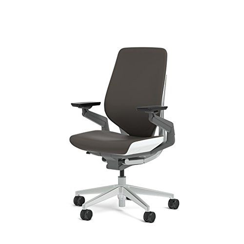Steelcase Gesture Chair Walmart Lounge Cushions Office Espresso Elmosoft Leather High Seat Height Wrapped Back Light On Frame Polished Aluminum Base Lumbar Support