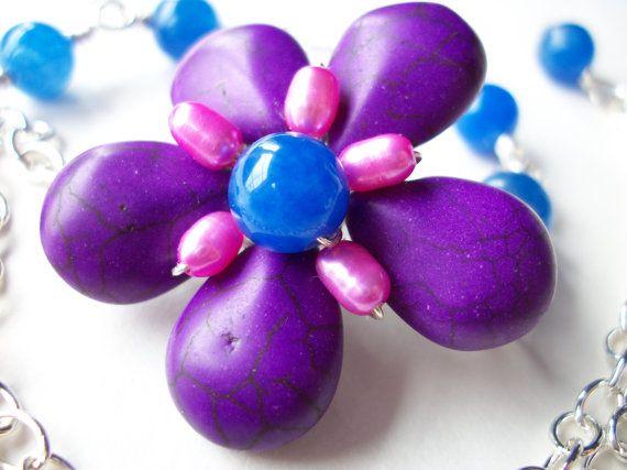 Purple flower necklace asymmetrical gemstone flower by StarJewels, $42.00