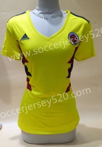 2018 World Cup Colombia Home Yellow Female Thailand Soccer Jersey ... fc9b34ce4