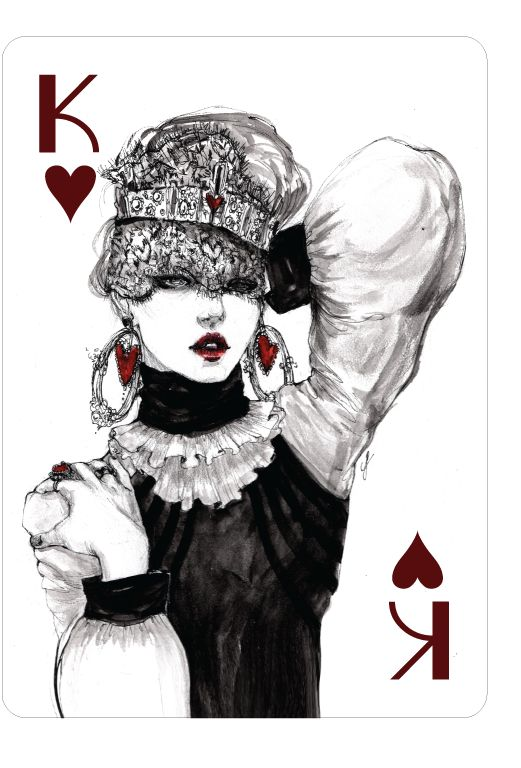 Playing Cards - King Of Hearts, Fashion Playing Cards by Connie Lim - playingcards, playingcardsart, playingcardsforsale, playingcardswithfriends, playingcardswiththefamily, playingcardswithfamily, playingcardsgame, playingcardscollection, playingcardstorage, playingcardset, playingcardsfreak, playingcardsproject, cardscollectors, cardscollector, playing_cards, playingcard, design, illustration, cardgame, game, cards, cardist