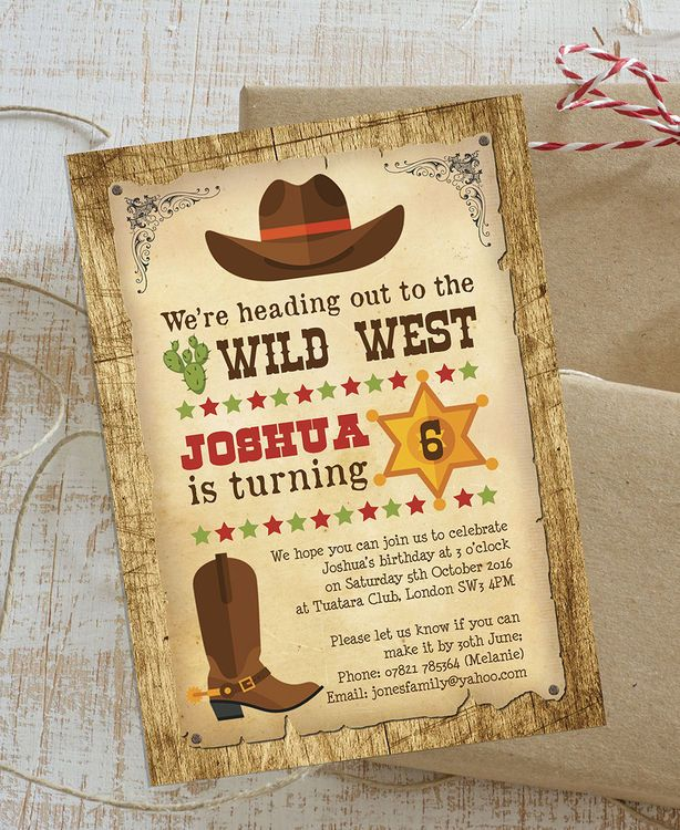 Cowboy Wild West Personalised Kids Birthday Party Invitations. DIY PDF Printable or Printed & Delivered.