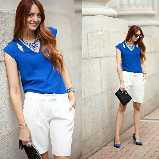 Get this look: http://lb.nu/look/6395252  More looks by Jackie Welling: http://lb.nu/littlejstyle  Items in this look:  Asos Cobalt Blue Cutout Top, Sophie Rue White Shorts   #shorts #dressy #blue #asos #nordstrom