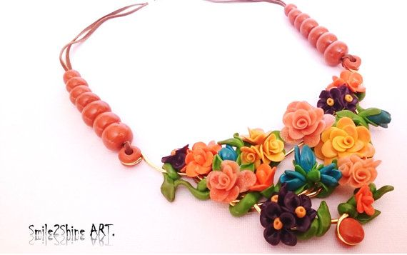Polymer clay jewelry Flower statement necklace by Smile2ShineArt
