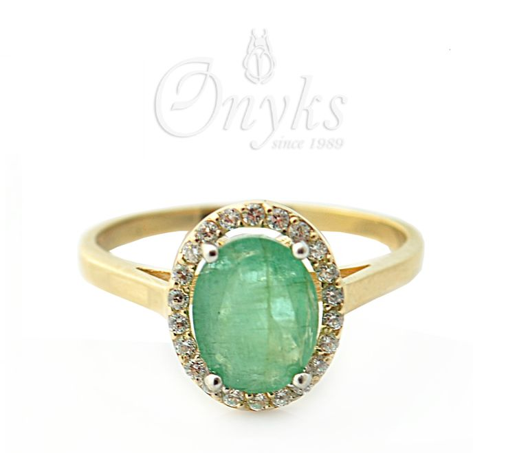 Gold Ring with Emerald and Zirconia by MyOnyks on Etsy