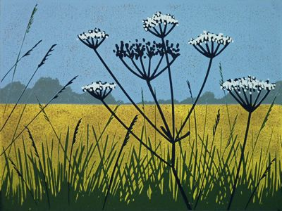 Golden Field - linocut - Alexandra Buckle, U.K.