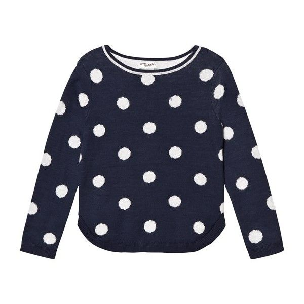 Navy Spot Knit Jumper ($46) ❤ liked on Polyvore featuring tops, sweaters, navy blue jumper, navy jumper, navy sweater, navy top and navy blue polka dot sweater