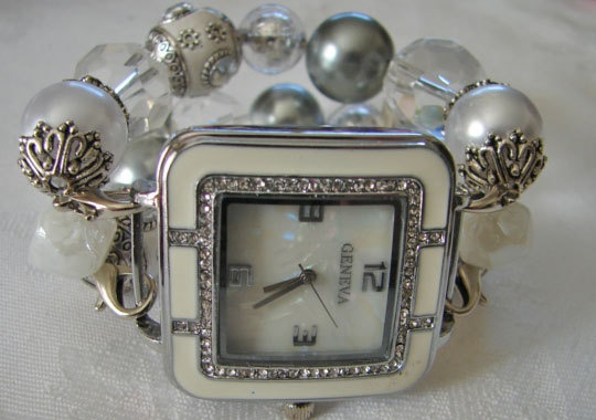 Pearl Crystal and Slate Chunky Beaded Watch Band by BeadsnTime, $30.00
