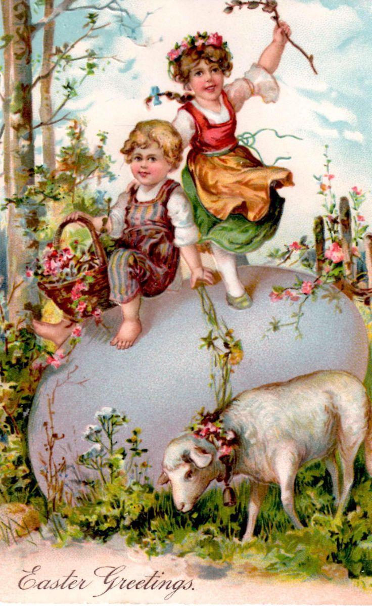vintage Easter postcard children on giant egg with little lamb