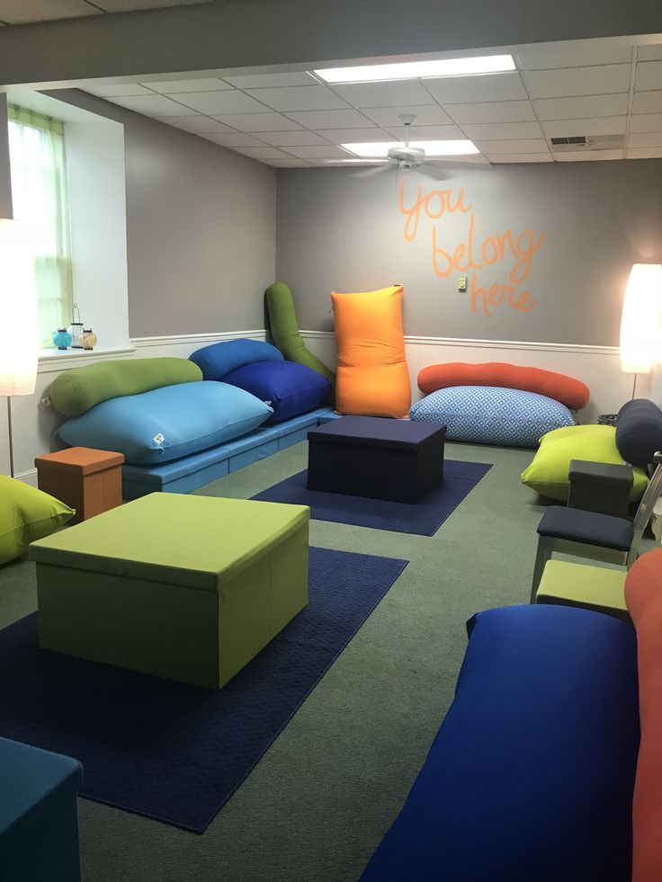Gray Youth Group Rooms: Youth Ministry Room Using Yogibo. Very Versatile And