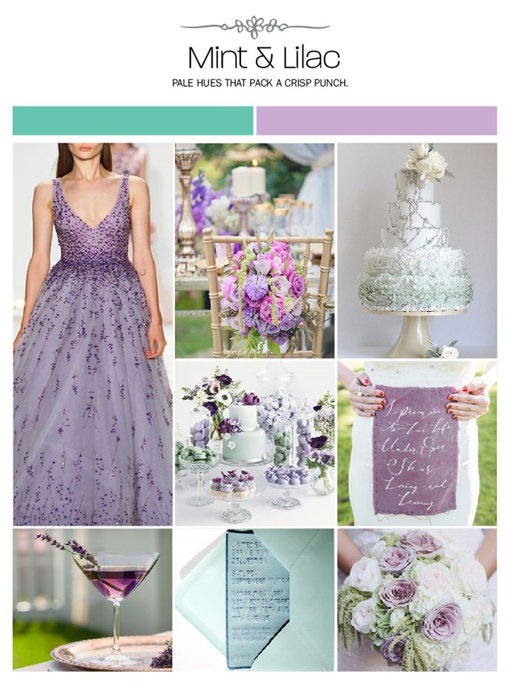 Mint and lilac wedding inspiration board, color palette, mood board via Weddings Illustrated