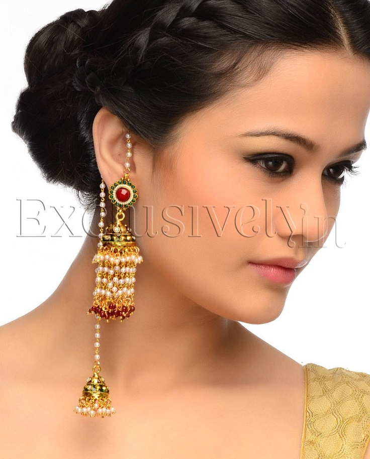 Embellished Double Jhumki Earrings with Red Stone Drops - Exclusively In