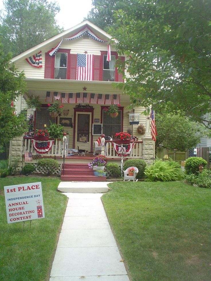House Decorated For 4th Of July July 4th Patriotic