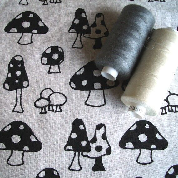 Toadstools v.2 - hand screen printed large quarter - Black on White on Etsy, £7.26