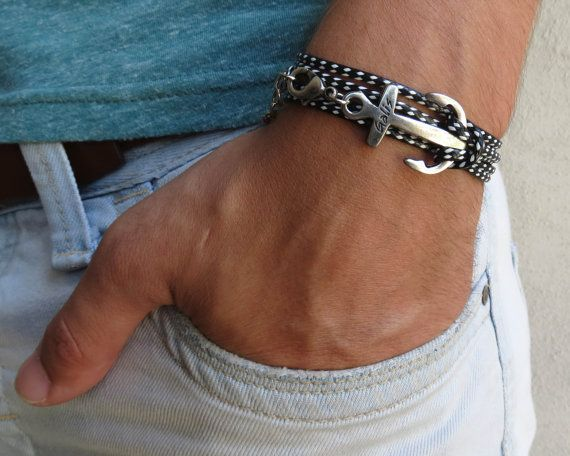 """Men's Bracelet - Men's Anchor Bracelet - Men's Black And White Bracelet - Mens Jewelry - Bracelets For Men - Jewelry For Men - Gift for Him Looking for a gift for your man? You've found the perfect item for this! The simple and beautiful bracelet combines black and white fabric which wrap 3 times on hand and a silver plated anchor pendant. Lengh: 22.8 (53 cm) + 2"""" (5 cm) extension chain. $27"""