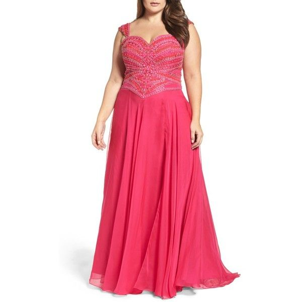 Plus Size Women's Mac Duggal Embellished Gown ($538) via Polyvore featuring plus size women's fashion, plus size clothing, plus size dresses, lipstick, plus size, red sparkly dress, sparkly dresses, women plus size dresses and red dress
