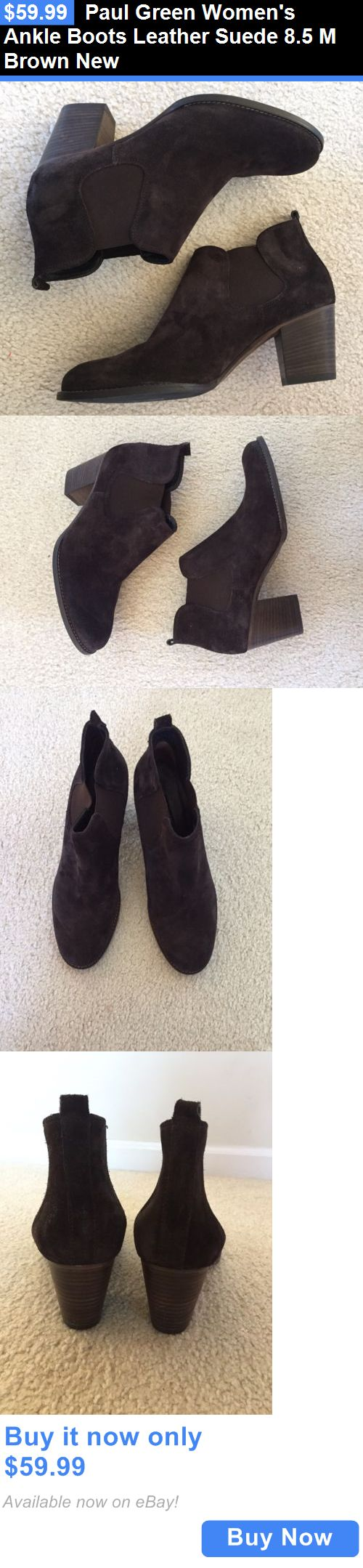 Women Boots: Paul Green Womens Ankle Boots Leather Suede 8.5 M Brown New BUY IT NOW ONLY: $59.99