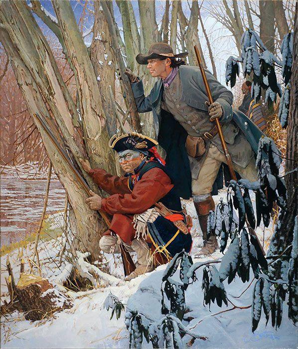 "John Buxton artwork - French Creek 1753, Half King and Christopher Gist 28"" x 24"" oil"