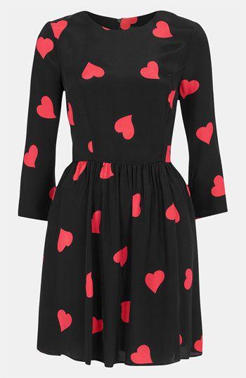 Heart Print Skater Dress #Nordstrom #Topshop #Valentine