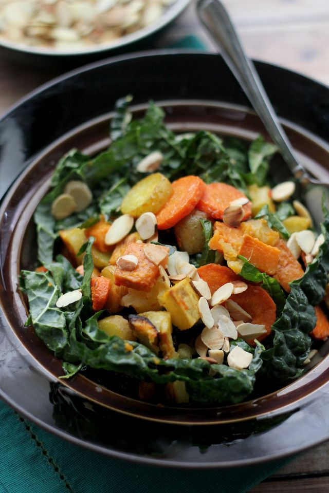 Sweet caramelized roasted root vegetables team up with a spicy salty miso-harissa dressing