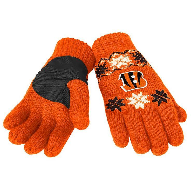 Adult Forever Collectibles Cincinnati Bengals Lodge Gloves, Orange