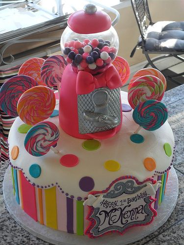 gumball machine and candy cake