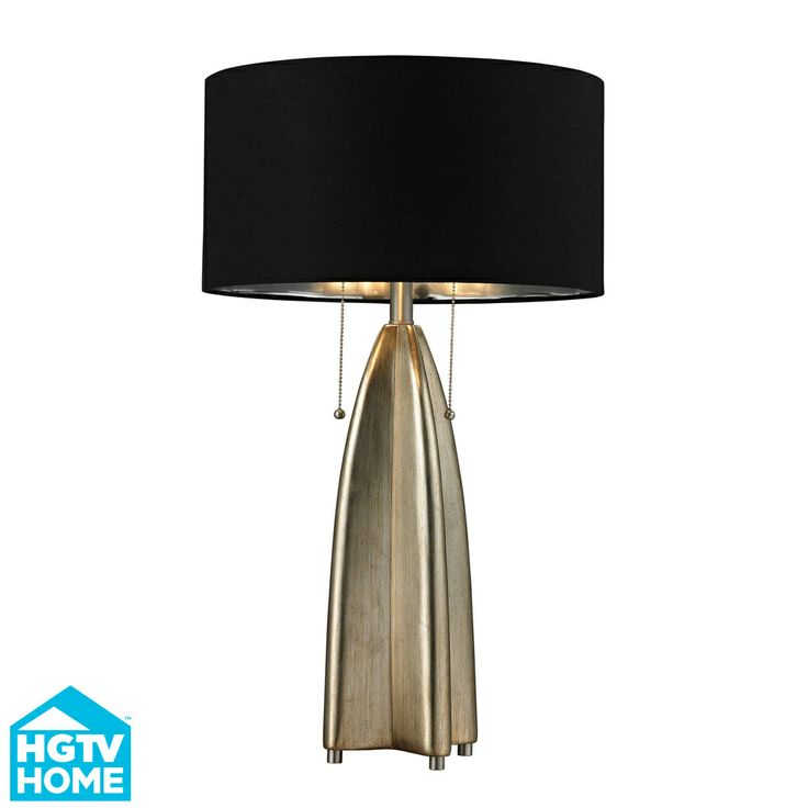HGTV HOME Gold Leaf And Black Modern Table Lamp | Fixture Finish: Gold Leaf,