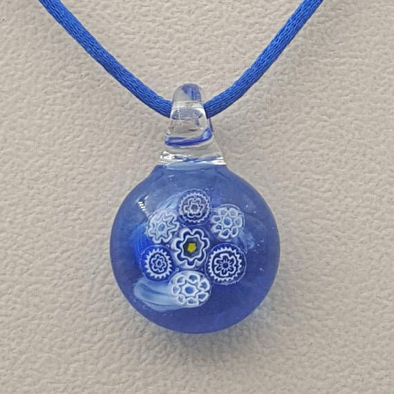 Royal blue floral pendant bright blue unique gift cheerful