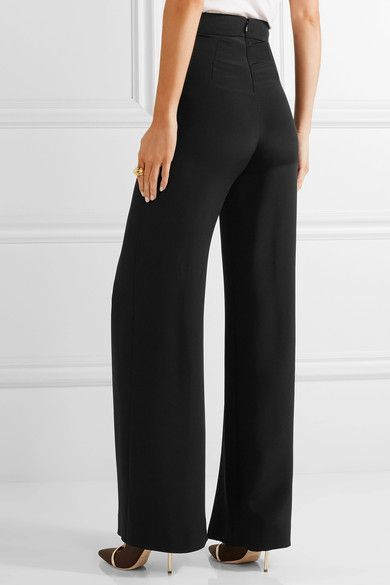 Cushnie et Ochs - Split-front Silk-crepe Wide-leg Pants - Black
