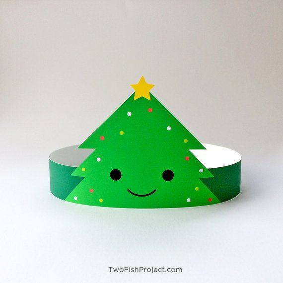 Christmas Party Headband Hat Christmas Paper Crowns Printable Christmas Party Props For Photo Boo Christmas Tree Headband Christmas Party Prop Kids Christmas