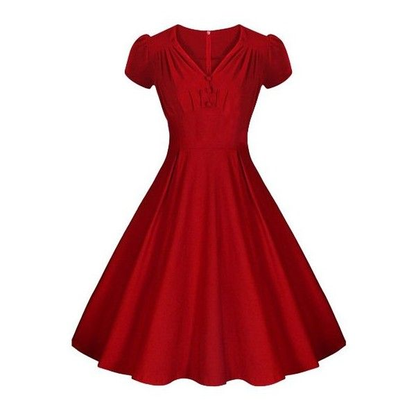 Solid Color V-Neck Short Sleeve Flare Dress ($22) ❤ liked on Polyvore featuring dresses, red dress, red short sleeve dress, red v neck dress, v neckline dress and flare dress