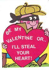 Vintage Valentine Card Thief in Robber Mask Unused with Envelope 1960s