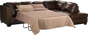 The Brick's Oakdale 2-Piece Genuine Leather Right-Facing Sofa Bed Sectional - Brown