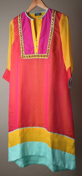 Turquoise Yellow and Red Chanderi silk