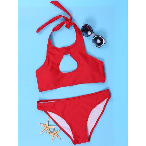 Women's Sexy Halter Red Cut Out Bikini Suit - RED M