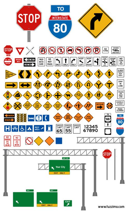 Free Vector Road Signs (Glossy or Plain) by fuzzimo