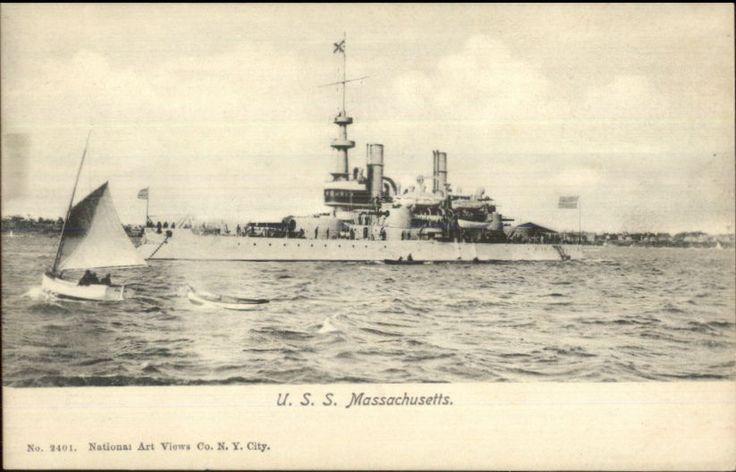 US Navy Battleship USS Massachusetts c1905 National Art Views #2401 PC