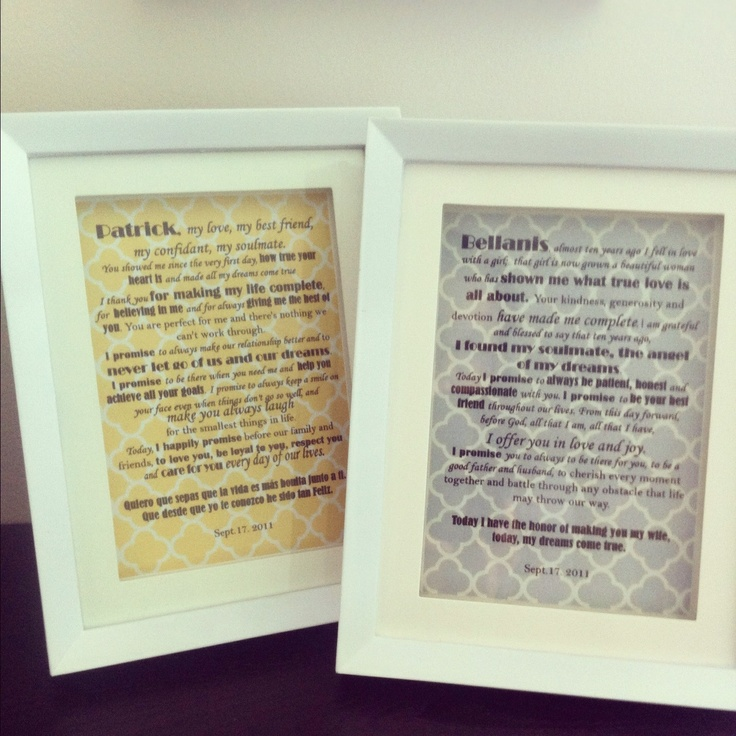 1st Year Wedding Anniversary Framed Vows Anniversary Is 2 Months Away A
