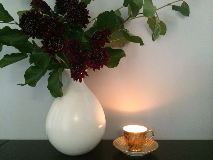 Scabiosa with beech greenery and one of my handmade soy teacup candles