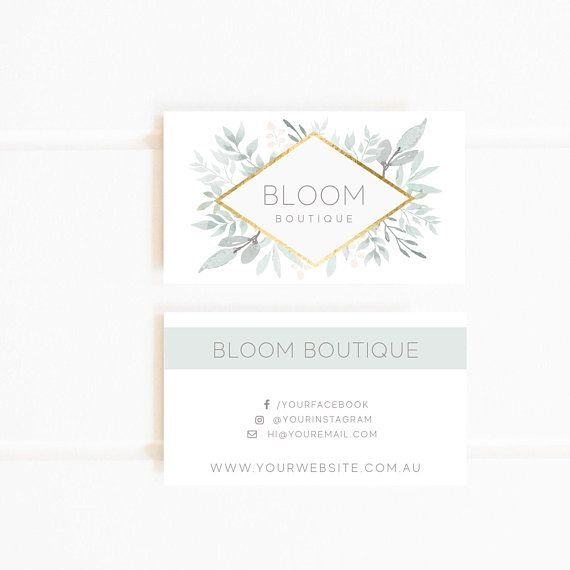 Floral Premade Custom Business Card Pastel Calling Cards Photography Branding Customised Business Cards Business Card Design Minimalist Custom Business Cards Card Design