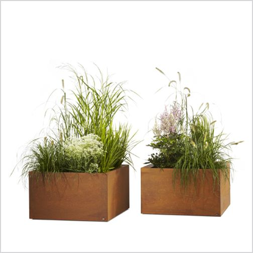 Thallo Planter Modular planter system for structuring landscapes and outdoor rooms, steel zinc plated, powder coated in light grey, anthracite or Corten steel