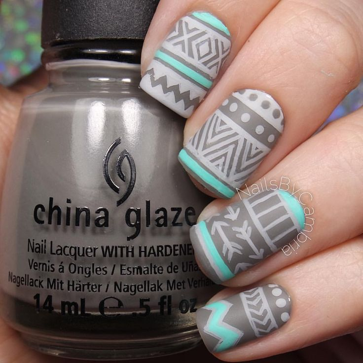 """Cambria Proskine on Instagram: """"Gray and turquoise patterned nails inspired by the amazing @nailsbysophiaa! I used: @chinaglazeofficial Recycle, Too Yacht To Handle, and Matte Magic Top Coat Gray acrylic paint All polishes are from @hbbeautybar Use my code ✨ nailsbycambria ✨ for 15% off site wide on hbbeautybar.com!"""""""