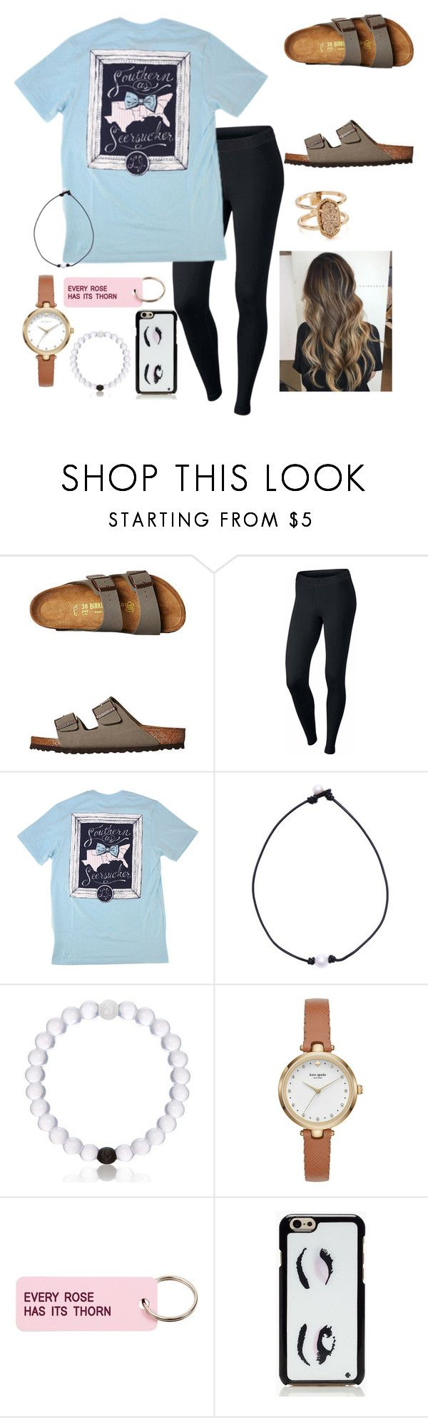 """~ southern belle ~"" by southern-preppster on Polyvore featuring Birkenstock, NIKE, Kate Spade, Various Projects and Kendra Scott"